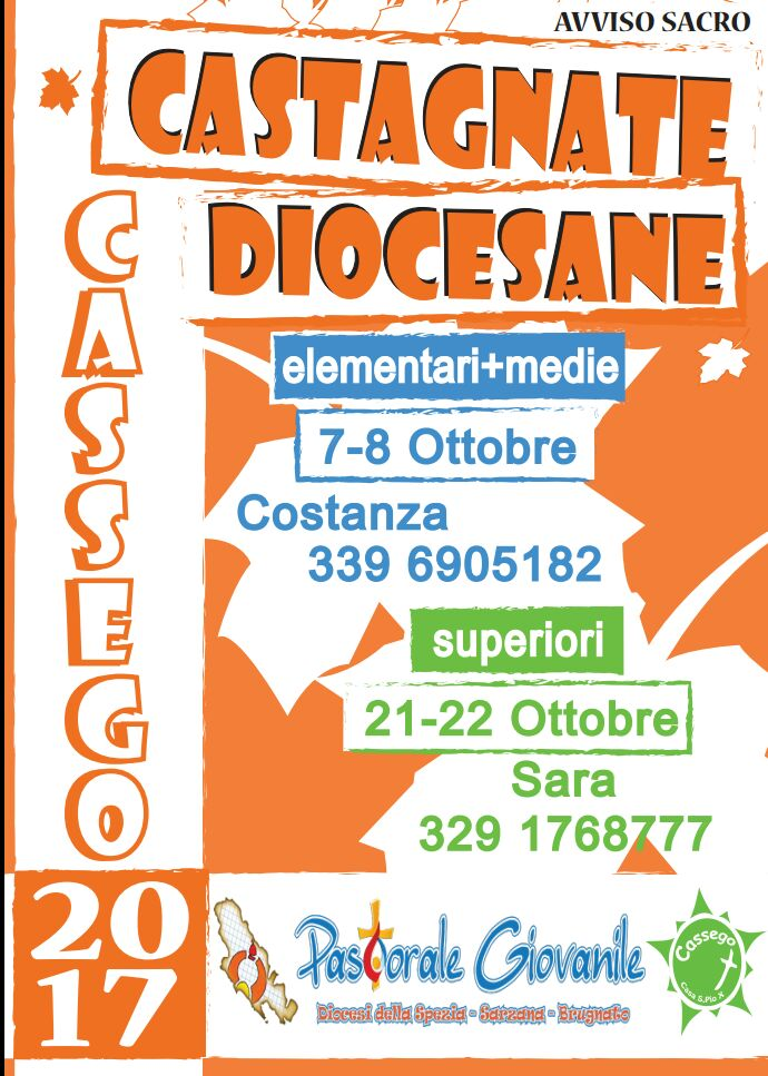 Pastorale Giovanile - Castagnata a Cassego per le Superiori @ Casa Diocesana S. Pio X | Marchesano | Liguria | Italia