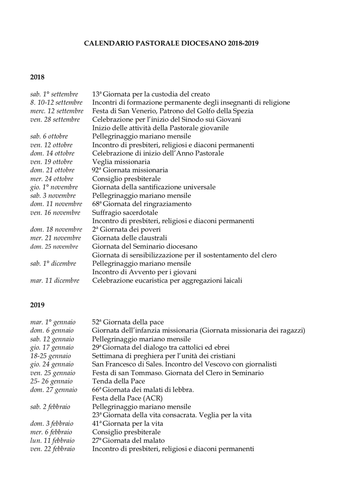 Calendario Pastorale 2020.Calendario Pastorale Diocesano 2018 2019 Diocesi Della